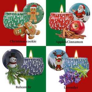 Bougies parfumées Noël Coffrets cadeaux de 4, cire de soja naturel bougies d'aromathérapie, Portable Voyage Tin Bougie cadeau pour la famille ou à des amis