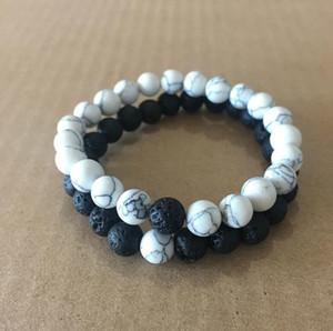 Mujeres de los hombres de Lava Natural Perlas de Roca Chakra Pulseras Curación Energía Piedra Meditación Mala Pulsera Moda Aceite Esencial Difusor joyería