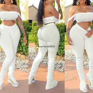 2020 new tracksuit women fitness slash nec camisole crop top+stacked pants elastic hight summer activewear casual outfit