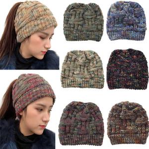 2019 Winter Keep Warm Популярные Бамбук Ткачество Вязание шапки хвостик Hat шерсти Hat качество высокое вязаная шапка Шерсть Лыжные шапки