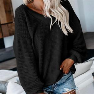 Mode 2019 neue Frauen Solid Color T-Shirt mit V-Ausschnitt Outwear Waffle Tops T-Shirt Langarm-loses beiläufiges T-Shirt Fall-Herbst-Tops