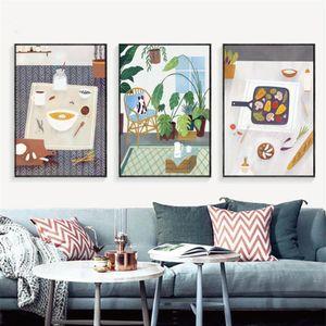 Planta de dibujos animados cartel abundante cena Teppanyaki Home Life lona Pinturas de pósters cuadros decorativos del hogar para niñas R