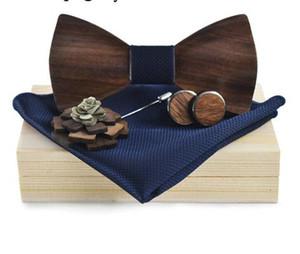 Mens Set Bow Tie en bois pour costume de mariage en bois Bowties Broche Mouchoir Boutons de manchettes Set Gravatas Slim shirt Ties