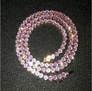 Plaqué or rose Mens rose CZ Glacé 4MM 16inch 1 ligne rose 18 pouces Simulations diamants bling chaîne Tennis Collier Hip Hop Bijoux