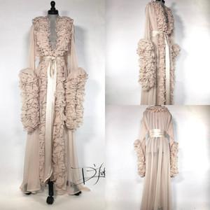 Ipek Şifon Sabahlıklar Pijama V Boyun Uzun Kollu Sabahlık Bayan Lüks Sabahlıklar Housecoat Gecelikler Salonu Giymek