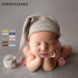 New Arrival Baby Photography Hat Soft Beanie With Fur Pompom Infant Cute Knitted Pointy Hats Caps Fur Ball Bonnet