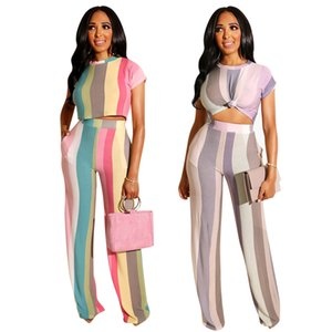 New Arrival Striped Print 2 Two Piece Set Short Sleeve Top and Wide Leg Pants Women Casual Outfit Night Club Sports Suit P316