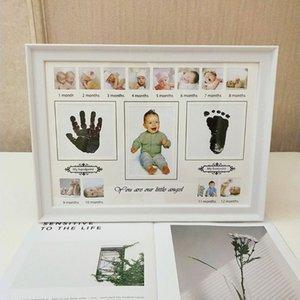 Newborn Baby Handprint Footprint Photo Frame with Stamp Ink Kids Imprint Hand Inkpad Souvenirs