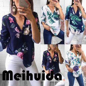 Fashion Women Three Quarter Sleeve V neck Floral Shirts Ladies Summer Casual Blouse Shirt