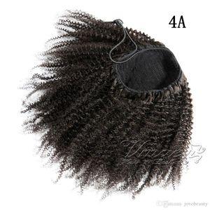 المنغولي الأسود الطبيعي الأفرو غريب مجعد 4A 4B 4C 120G ذيل الحصان ذيل غير المجهزة عذراء الشعر التمديد الإنسان