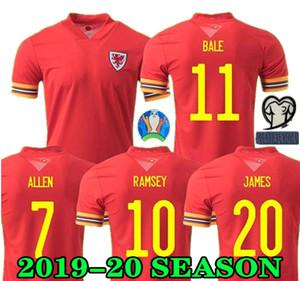 Gales del jersey de fútbol 19 20 JAMES camisa Euro 2020 Gales Inicio BALA Fútbol RAMSEY hombres Uniforme niños VOKES ALLEN B.DAVIES