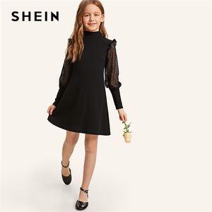 SHEIN Kiddie Filles Noir Col Serré Trou Du Dos Bouton Élégant Robe Enfant 2019 Jambe D'été De Mouton Manches Frill Robes De Soirée