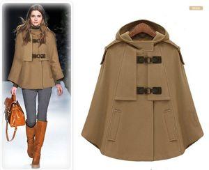 Fashion-blu scuro Cape cappotto di lusso di stile di Steampunk lana giacca corta con il cappotto di cachemire lungo mantello invernale progettista della donna più di formato