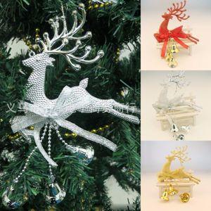 Casa Enfeite De Árvore de Natal Veados Chital Pendurado Xmas Baubles Decoração Do Partido Veados Rena De Natal com trompete sino 2016