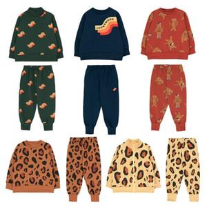 EnkeliBB Çocuk Marka Leopar Kazak ve Pantolon Çocuk Erkekler Kızlar Moda Şanslı Giyim Bebek Marka Kış Hoody Kedi LY191230 Tops ayarlar