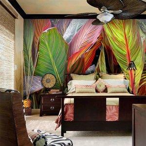 Bacal Custom 3D Wallpaper red leaves rainforest leaves mural living room Wallpaper bedroom picture photo Wallpaper Murals