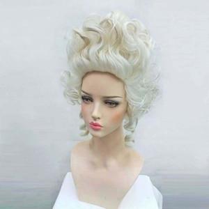 100% nueva imagen de moda de alta calidad pelucas llenas del cordón de alta calidad Marie Antonieta pelucas Aristocracia reina Cosplay peluca