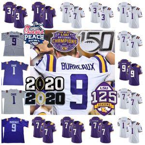 LSU Tigers Burreaux Jersey 2020 Champions 9 Jerse Burrow Nickname 3 Odell Beckham Jr. 7 Tyrann Mathieu Grant Delpit Ja'marr Jamrr Chase 150th