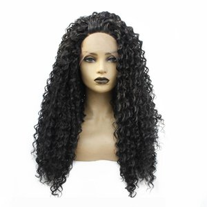 Natural Looking Black Long Kinky Curly Synthetic Lace Front Wigs with Baby Hair Heat Resistant Glueless Full Wigs For Women