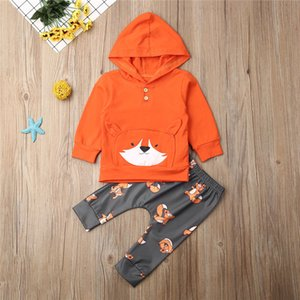 2020 Autumn Toddler Infant Baby Girl Boy Clothes Set Long Sleeve Print Hooded Top+Pants Outfits Costume Clothing Set