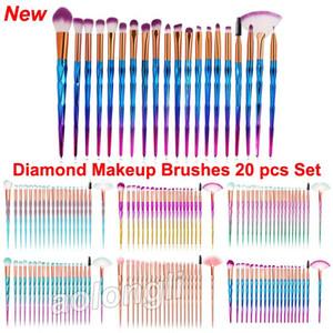 Conjuntos de pincéis de maquiagem de diamante cosméticos escova 20 pcs cores brilhantes Rosa de Ouro arco-íris pincel de maquiagem lip Delineador Rímel rosto Escovas de Olho Em Pó