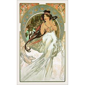 Hand painted Beautiful woman Music Alphonse Mucha paintings canvas artwork for office wall decor