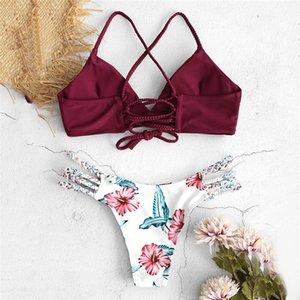 Telotuny Women Two Pieces Set Swimwear Women's Cut Flowers Swimsuit Pushups Swimwear Beachwear Off Shoulder Swimsuit Female