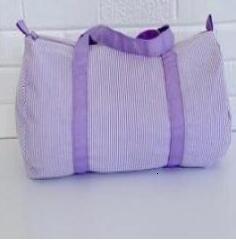 18 * 9 * 9,5 Travel Bag pollici Personalizza seersucker Duffle Bag all'ingrosso Blanks bambini Barrel Bag Preppy per bambini