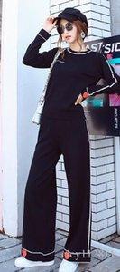 La versión coreana Pop2019 del traje negro de cachemira traje elegante pantalones de pierna ancha traje