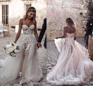 2020 Plus Size Country Style 3D Floral apliques A-Line Wedding Dresses Bohemian vestidos de noiva para noivas robe de mariée BC2024