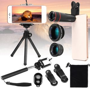 Universal 12 in 1 Camera Lens Accessories Travel Kit Set With Holder Tripod For Mobile Phone Clear Portable Wide-angle Lens