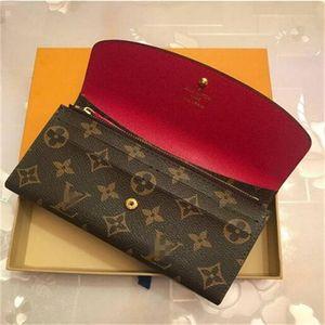 billetera cartera de las mujeres de la cremallera del bolso femenino diseñador monedero de la tarjeta de Louis Vuitton titular de bolsillo largo de las mujeres del bolso con la caja