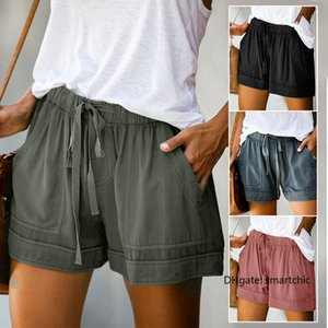2020 Women Shorts Comfy Drawstring Splice Casual Elastic Waist Pocketed Loose Short Feminine Women's Shorts Comfortable
