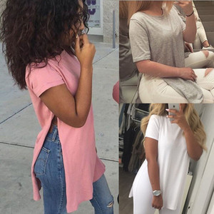 Nouvelle mode des femmes d'été en vrac à manches courtes O-Pull à encolure solide Chemise décontractée fourche ouverte Tops T-shirt