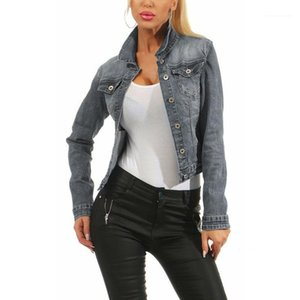 Washed Slim Fashion Ladies Coats Lapel Neck Single Breasted Female Outerwears Spring Womens Jean Short Jackets Solid