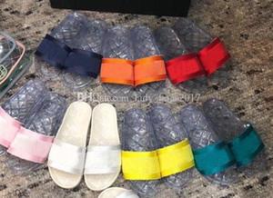Frauen Jelly Transparent PVC-freie Sandalen Designer Slipper Gummi Slide Sandale Blumenbrokat-Gang anstößt Flip Flops Striped Strand Slipper