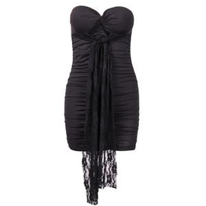 Meihuida atractivo del cordón elegante Oficina mujeres viste Color Negro sin mangas del mono del partido fuera del hombro de la señora vestido sin tirantes