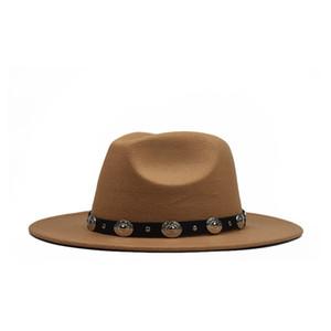 Otoño e invierno versión coreana de la lana plana gorro de lana de la correa de la manera grande de metal grandes aleros sombrero de fieltro sombrero de ligamento tafetán