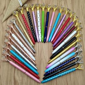 Creative 22 Colors Luxury Big Crystal Diamond Ballpoint Pens Fashion School Office Supplies NEW Design Big Gem Metal Ball Pen Student Gifts