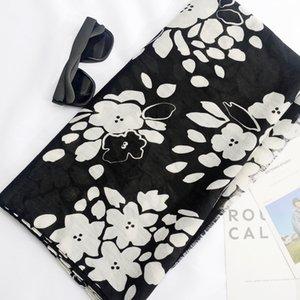 Écharpe en fine section avec écharpe en coton et lin à imprimé noir et blanc, châle long, tête de serviette en velours quatre saisons, filé balinais