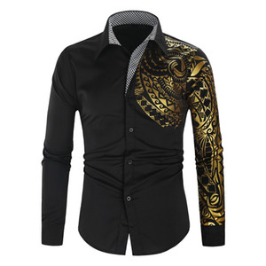 Formal Printed Shirt For Men Turn-down Collar Long Sleeve Shirts Business Work Male Blouse 2020 Men's Clothing