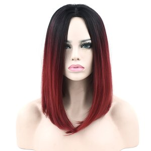 11 Colors Black To Pink Ombre Hair Straight Bob Wigs Synthetic Hair Short Party Hair Cosplay Wig for Women