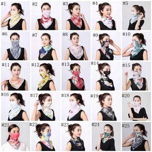 Sunshade Masks Women Scarf Face Mask Silk Chiffon Handkerchief Outdoor Windproof Half Face Dust-proof Masks Scarf Dust Mask EEA1678