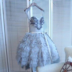 Querida Light Gray Tulle Curto Prom Vestidos bonita com Sash apliques Beading únicas Vestidos Homecoming com renda acima para trás