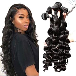 Bella Hair® 3pcs / lot MinkHair Brazilianhair İnsan Saç Dokuma 8A Doğal Siyah Renk Gevşek Derin Dalga Saç Uzantıları Çift Atkı
