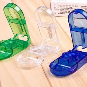 Cortador de pílula Splitter Meia Caixa de Compartimento De Armazenamento de Medicina Tablet Titular Caixa De Armazenamento Em Casa 3 cores LX5066