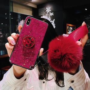 2019 Lüks glitter Iphone xs telefono caso elmas rhinstone Iphone xs için max durumda kol bandı parmak yüzük tutucu tasarımcı telefon kılıfı