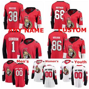 Ottawa Senators jerseys Mike Condon Jersey cristianos Wolanin de Rodolfo Balcers Mike Hoffman Rojo Blanco hockey sobre hielo de los jerseys cosido personalizada