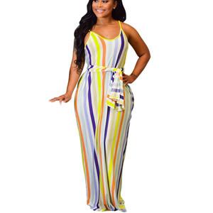Женские сексуальные свободные платья-ремешки макси для дам с полосатым принтом Мода Лето V-образным вырезом без рукавов Повязка Длинное платье слинг