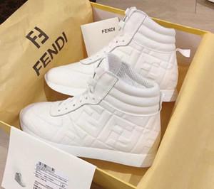 2020 Chaussures Designer pour hommes Rayé Haut Haut en cuir blanc Chaussures femmes Chaussures de Thick Sneakers Chaussures Casual de haute qualité